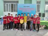 Đội bóng chuyền hơi (nữ) Trường THCS Thị Trấn tham gia Hội thao
